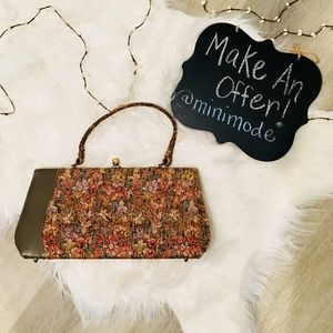 Vintage Floral Handbag w/ Brass Closure